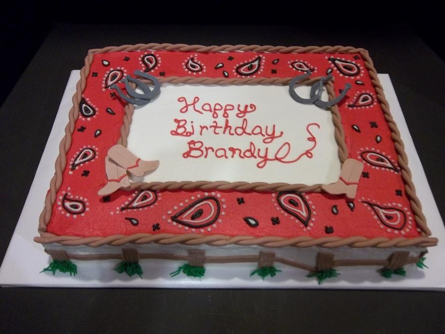 Western Themed Birthday Sheet Cake Covered In Buttercream