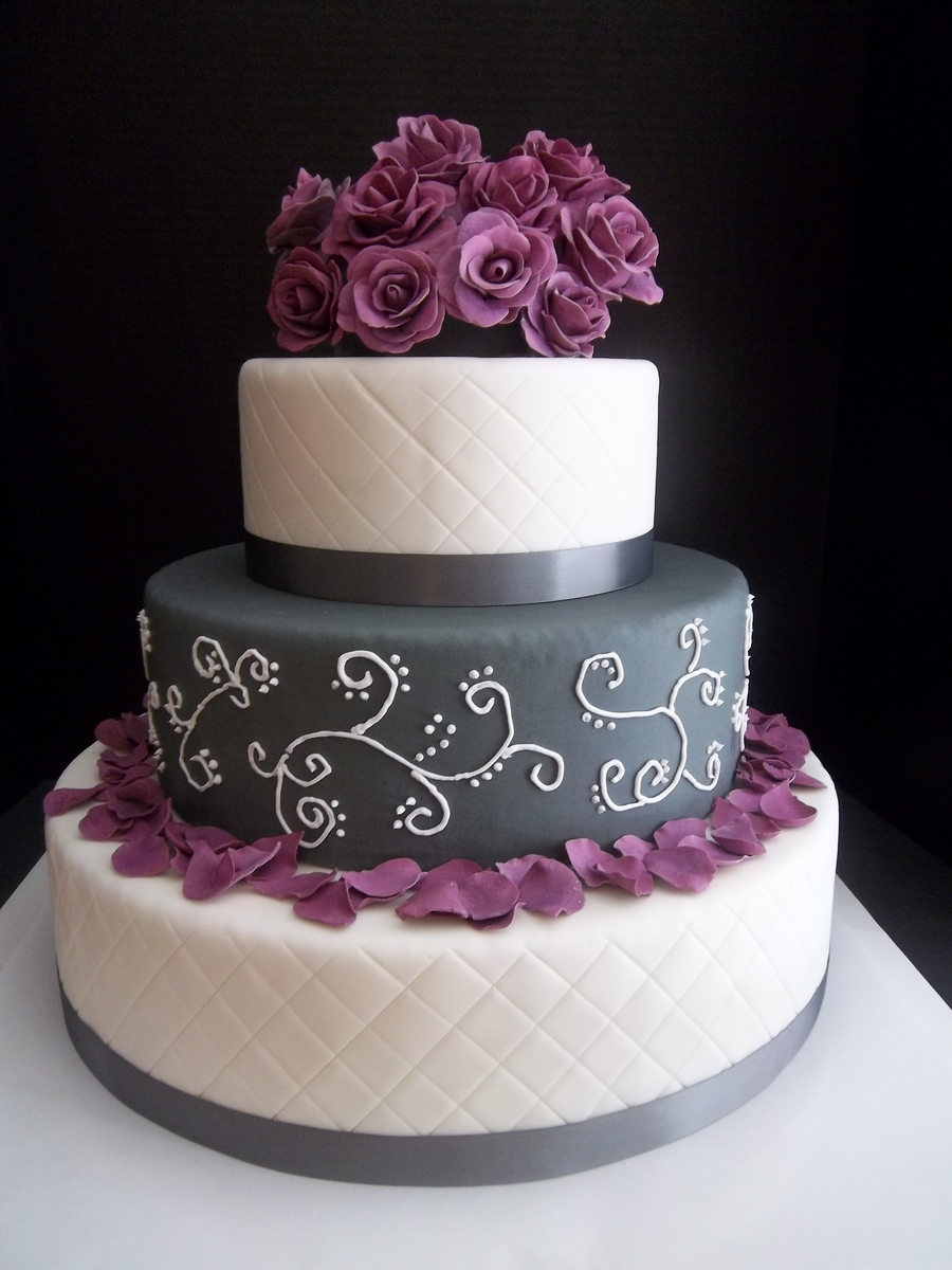 purple and grey wedding cakes purple and grey quilted wedding cake cakecentral 18860