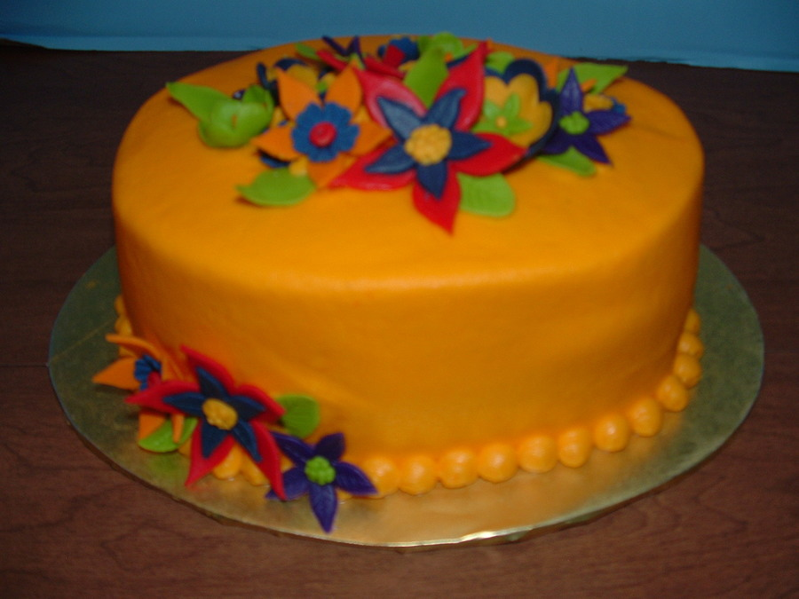 Buttercream Icing With Fondant Flowers on Cake Central