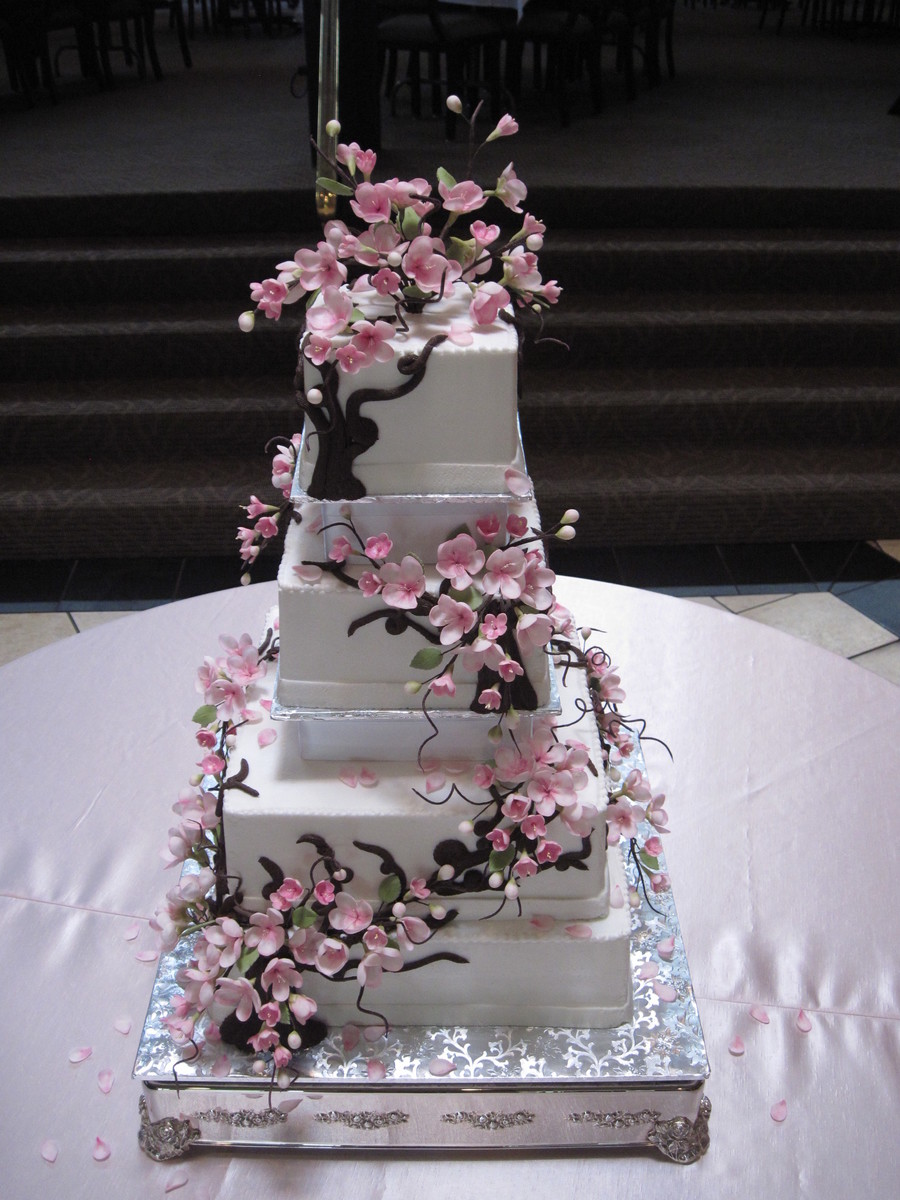 japanese cherry blossom wedding cake cherry blossom wedding cake cakecentral 16585