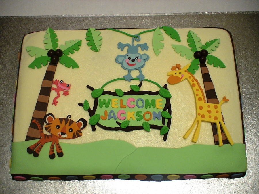 Fisher Price Rainforest Baby Shower Cake - CakeCentral.com