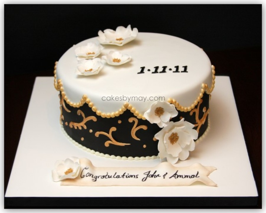 Black White And Gold Wedding Cake On Central