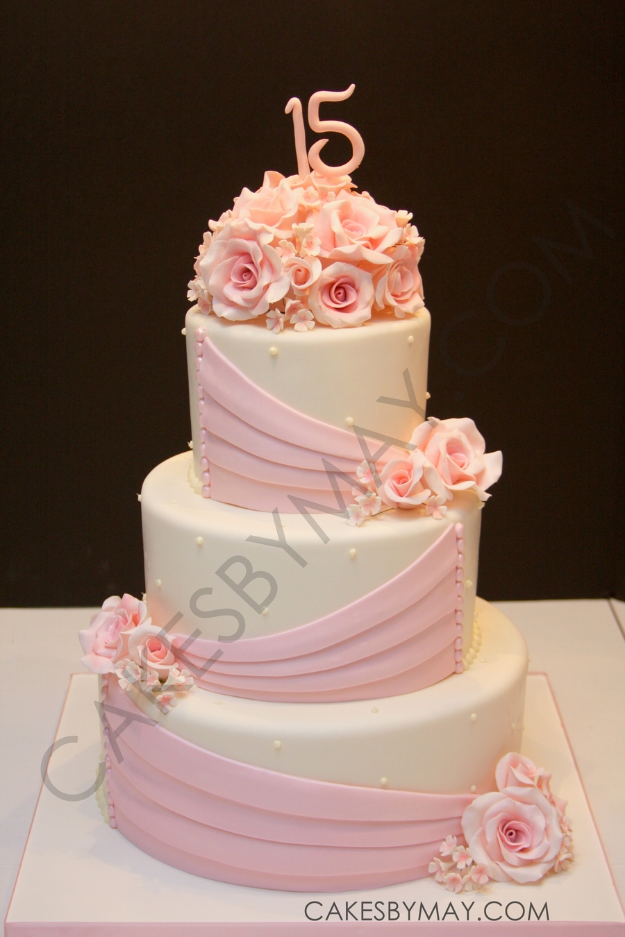 Pink Roses And Draping Quinceanera Cake on Cake Central