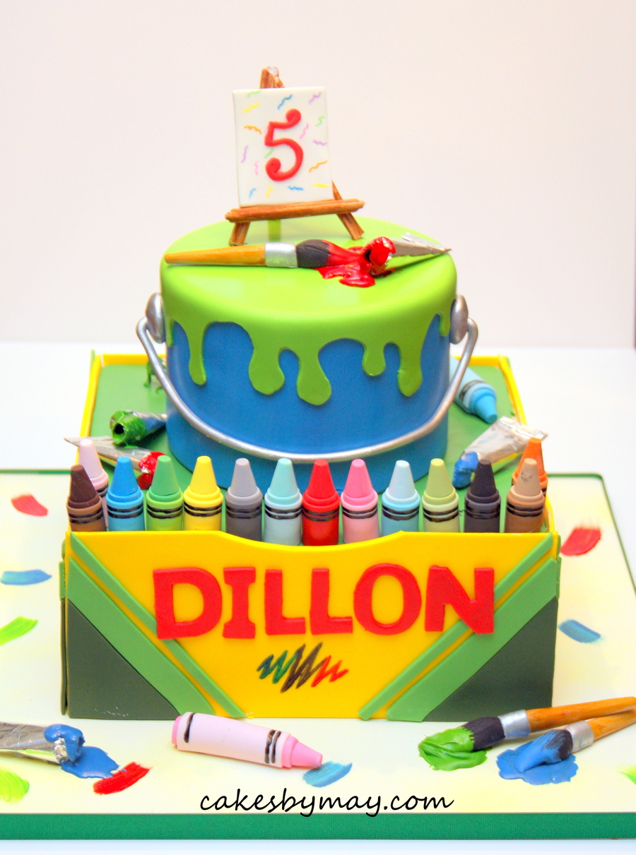 Paint And Crayons Birthday Cake - CakeCentral.com