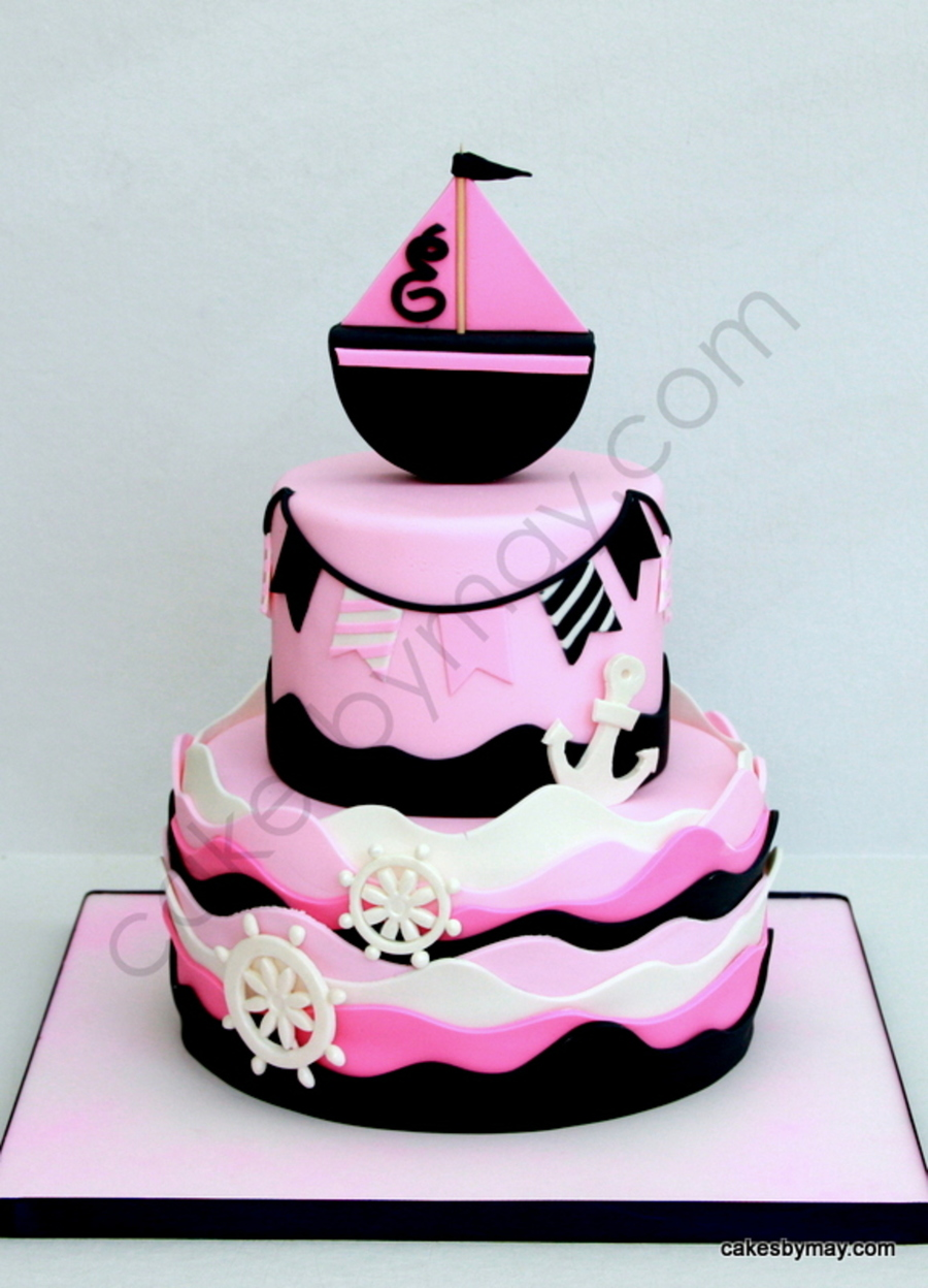 Girly Nautical Theme Cake on Cake Central
