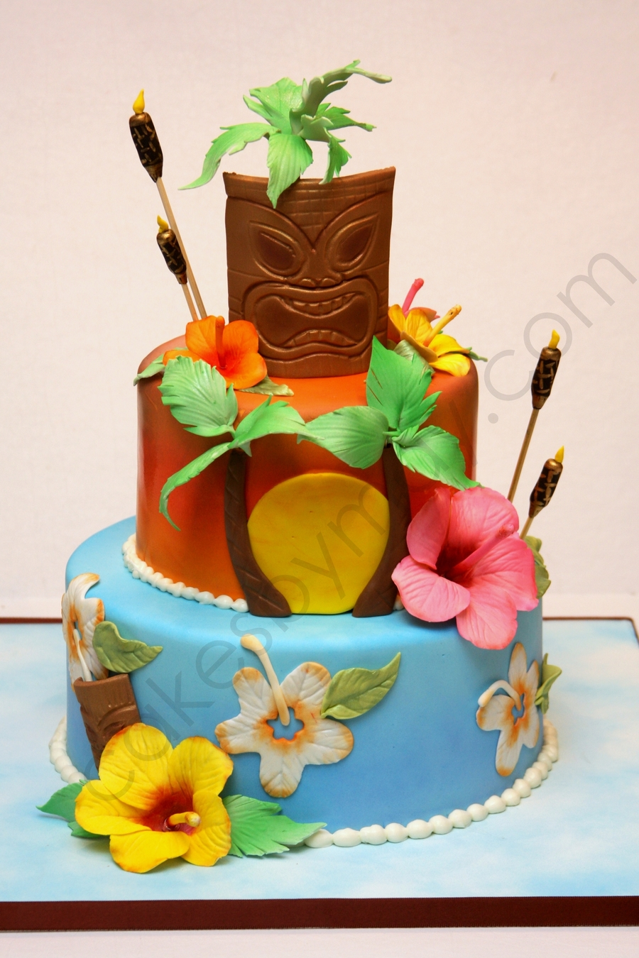 Hawaiian Themed Birthday Cake  on Cake Central