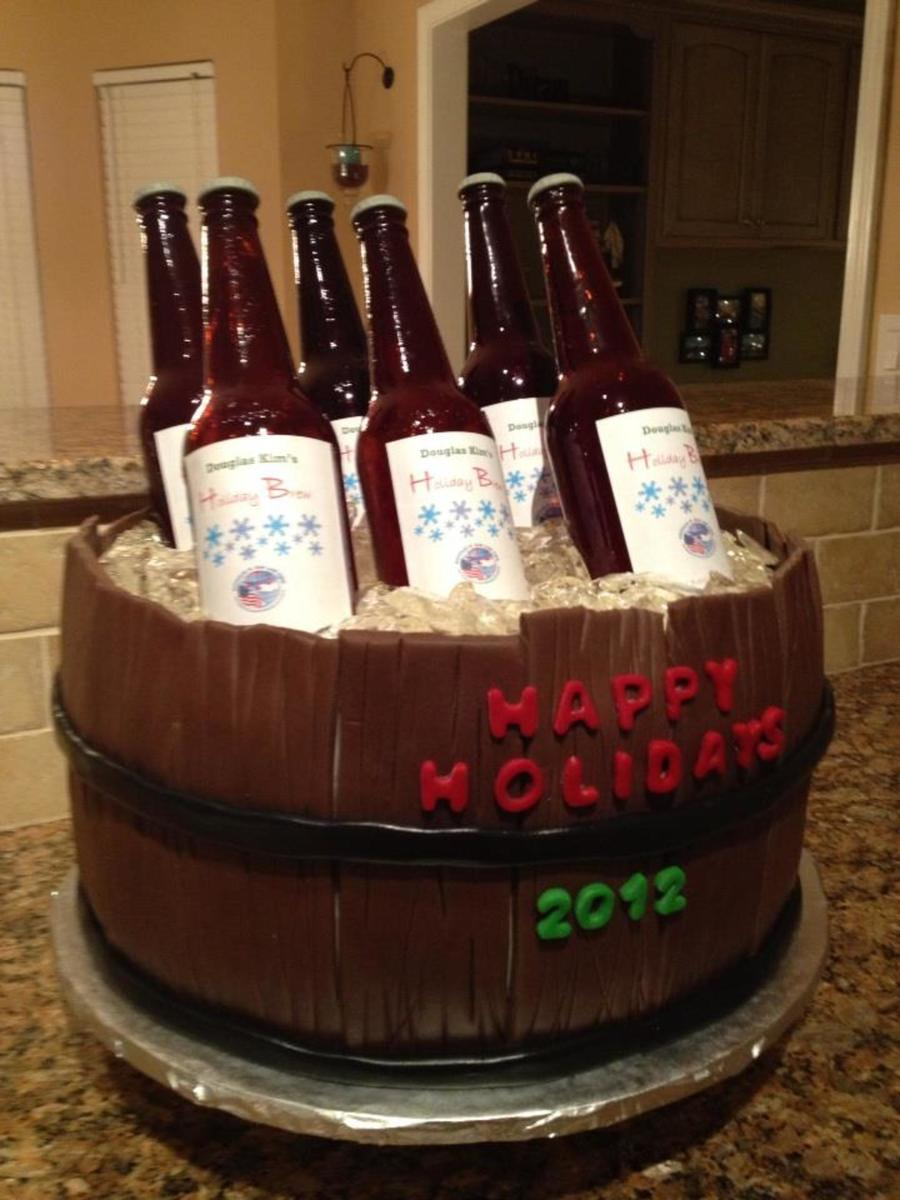 Giant Barrel Of Beer Cake With Personalized Labels on Cake Central