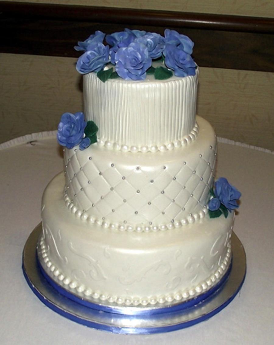 Blue Rose Wedding Cake - CakeCentral.com