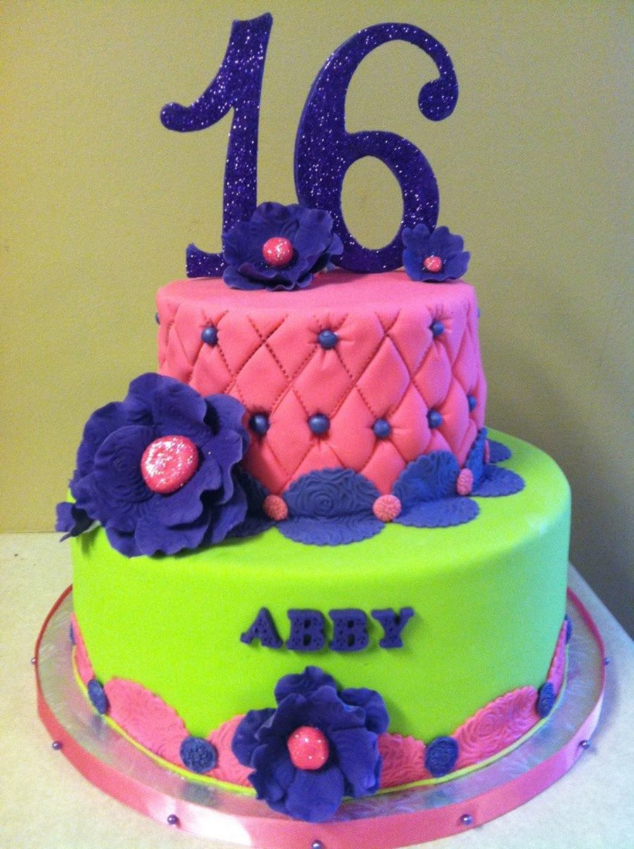 A Sweet 16 Cake For A Client Whose Only Requirement Was Bright Colors on Cake Central