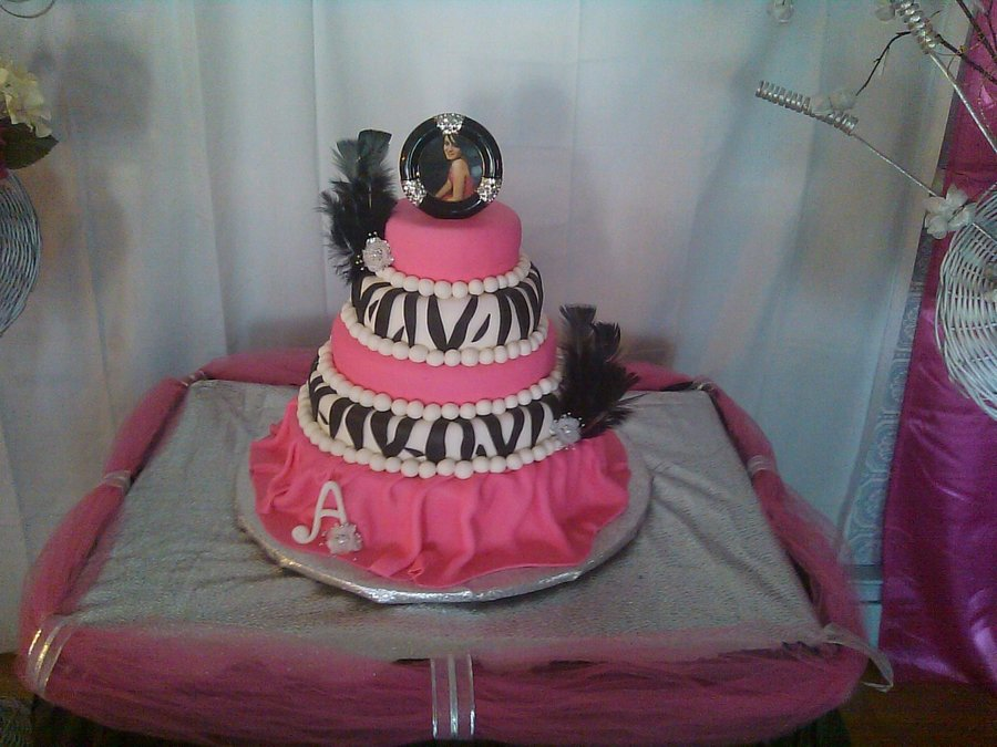 Zebra And Hot Pink  on Cake Central