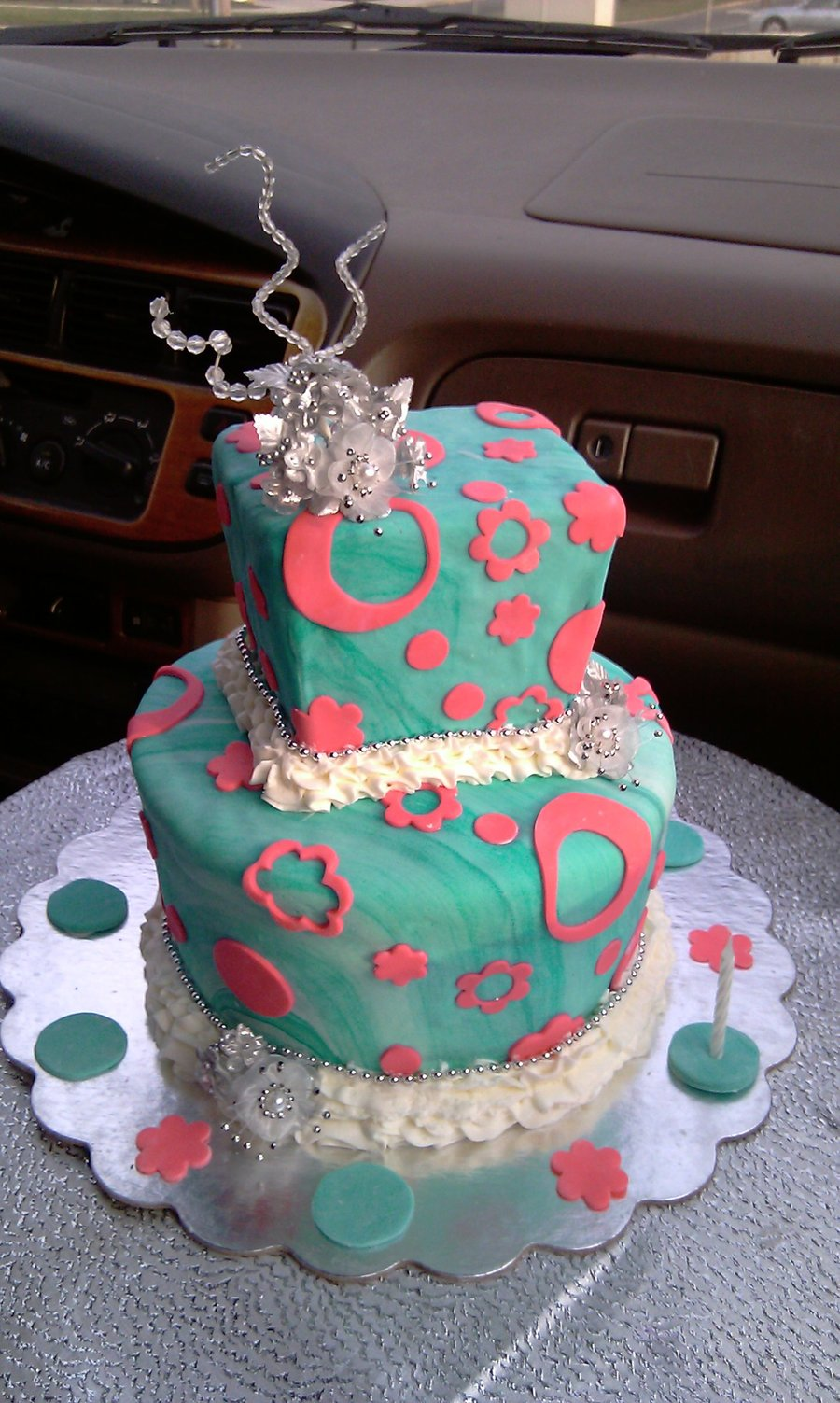 Marbled Turquoise And Pink Cake  on Cake Central