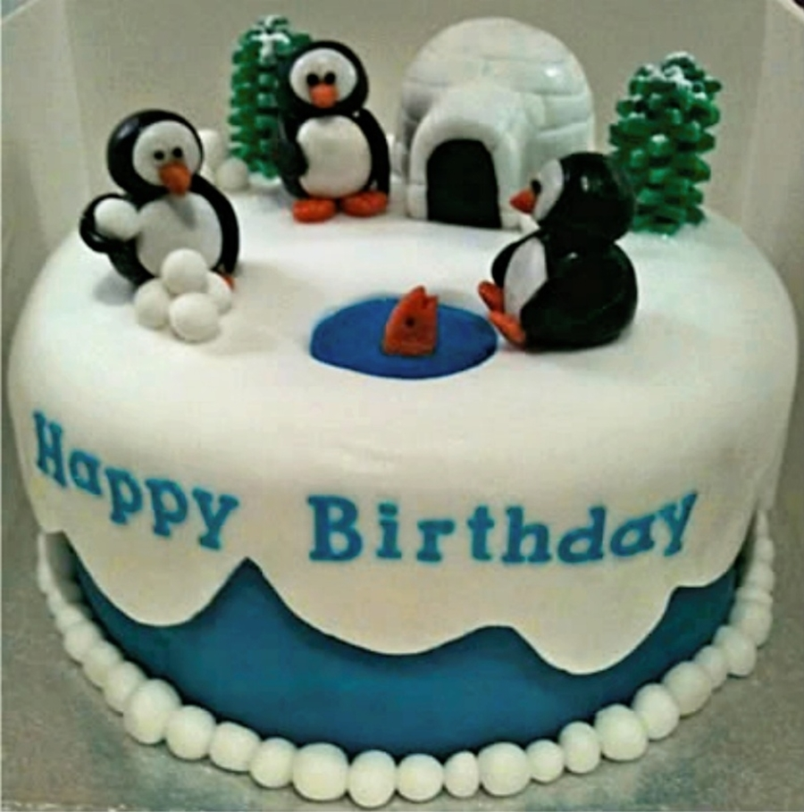 Tremendous Penguin Birthday Cake Cakecentral Com Funny Birthday Cards Online Aeocydamsfinfo