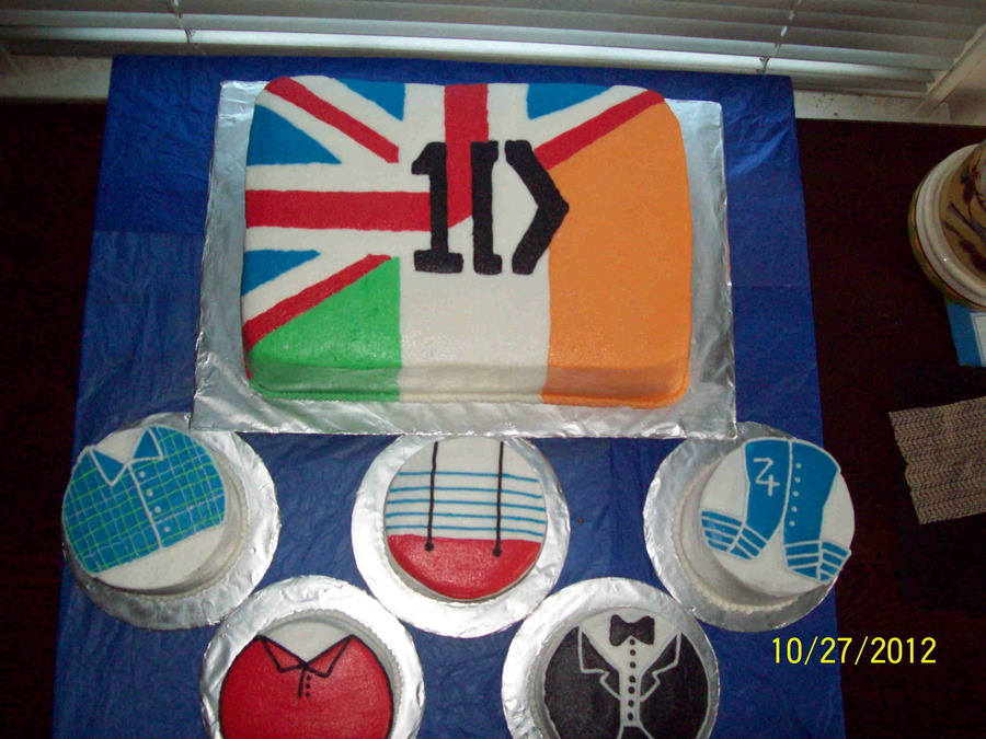 One Direction All Butter Cream On Vanilla Cake With Strawberry Fill 9 X 13 With 5 4 Rounds on Cake Central