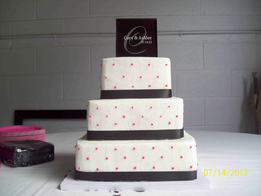Buttercream Black Fabric Ribbon With Hot Pink Dots on Cake Central