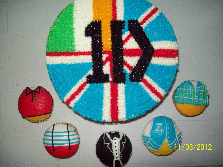1 Direction 8 Round With 5 Cupcakes All Buttercream on Cake Central