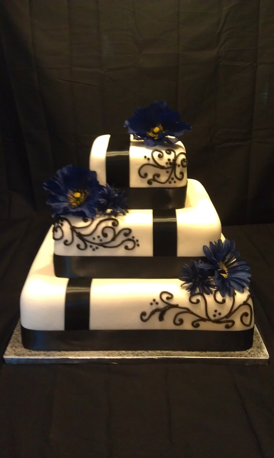 Off-Set Ribbon Wedding Cake on Cake Central