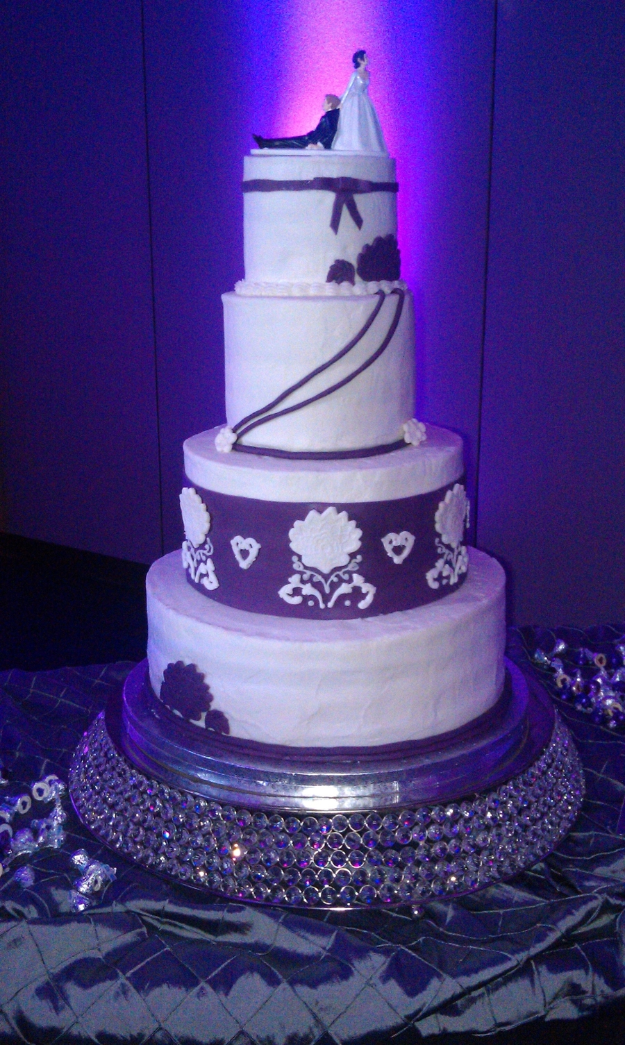 Damask Accent Wedding Cake on Cake Central