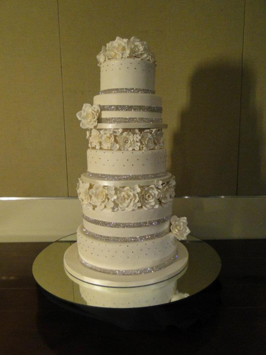 Bling With White Roses Wedding Cake on Cake Central