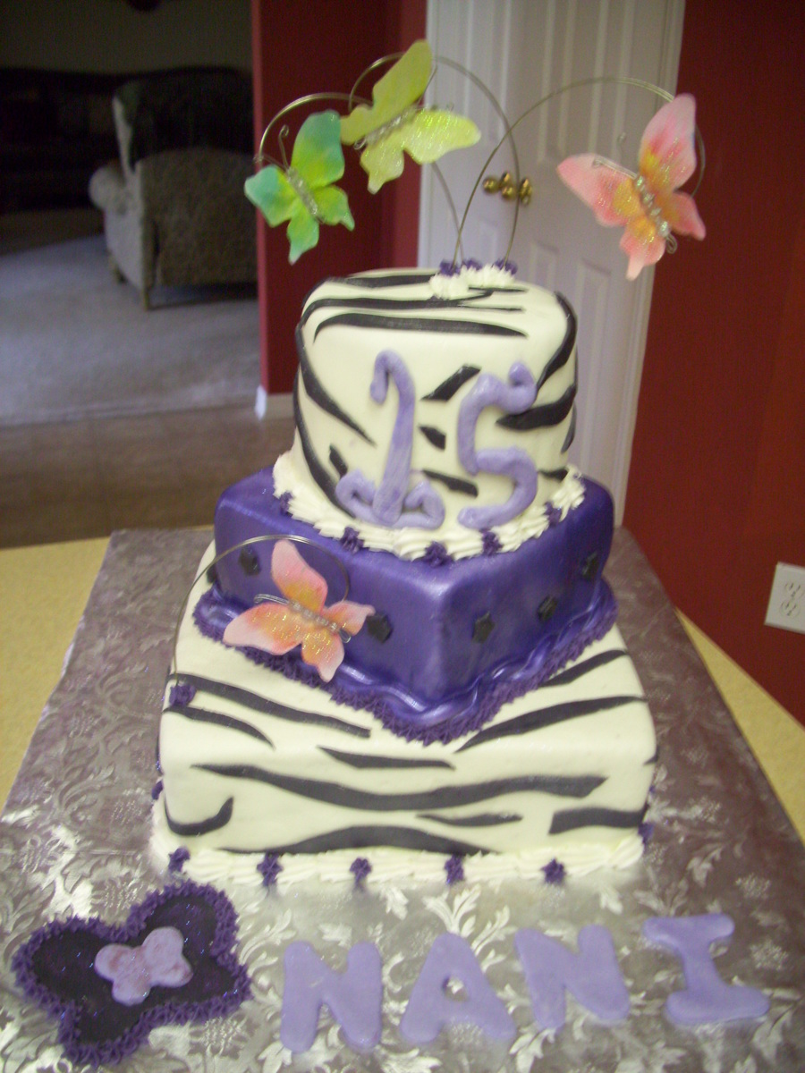 Zebra And Mariposa Cake on Cake Central