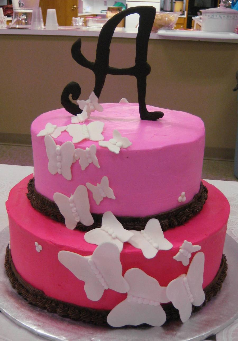 Butterfly Pink Baby Shower Cake  on Cake Central