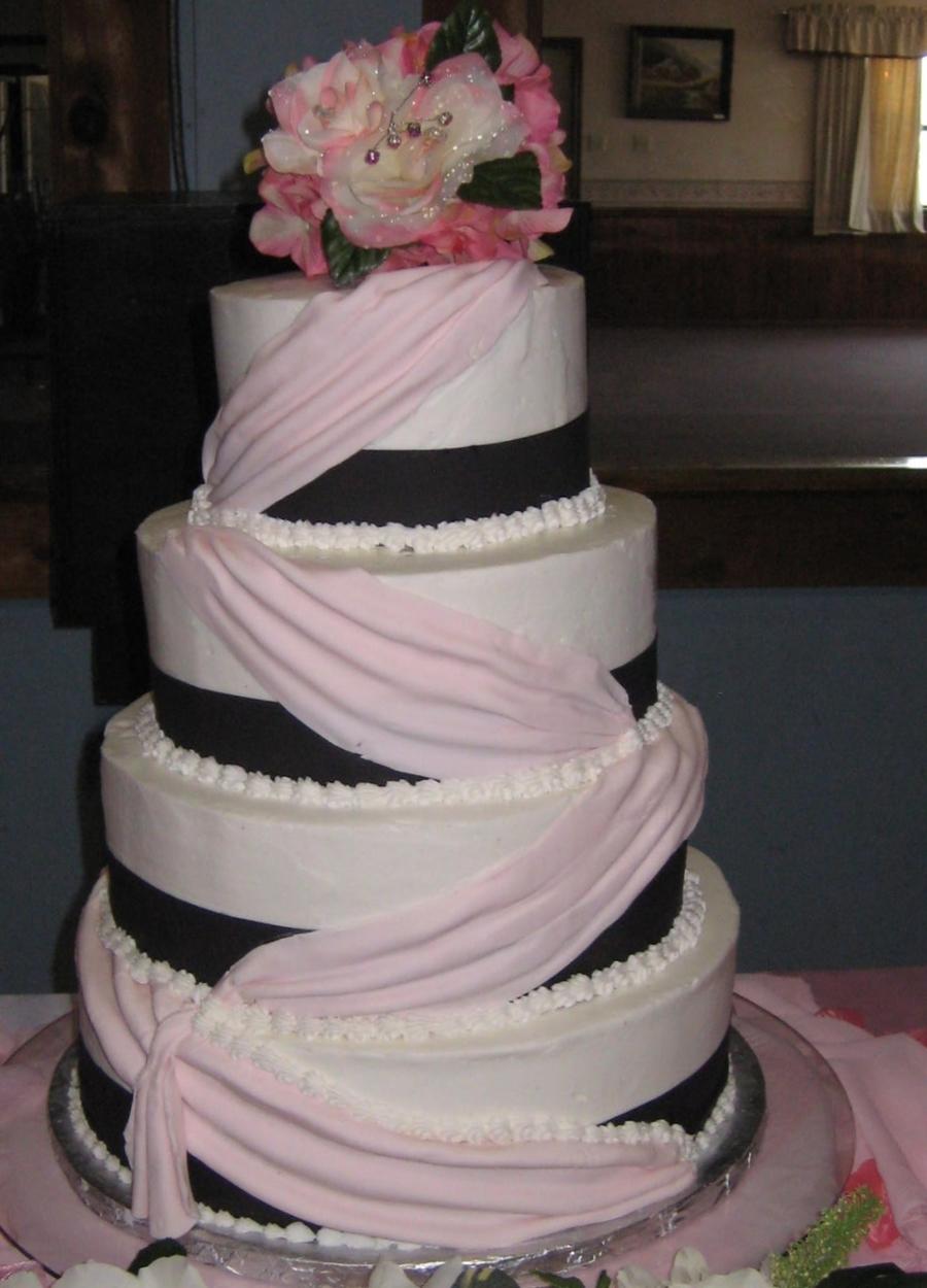 Lite Pink Swag Wedding Cake