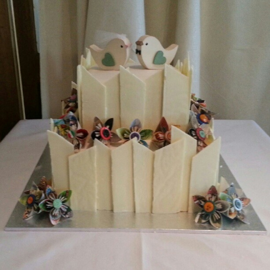 Origami Styled Wedding Cake on Cake Central
