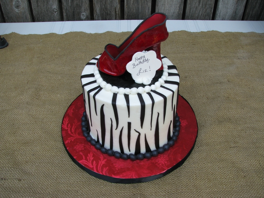 Zebra/red Shoes Birthday Cake on Cake Central