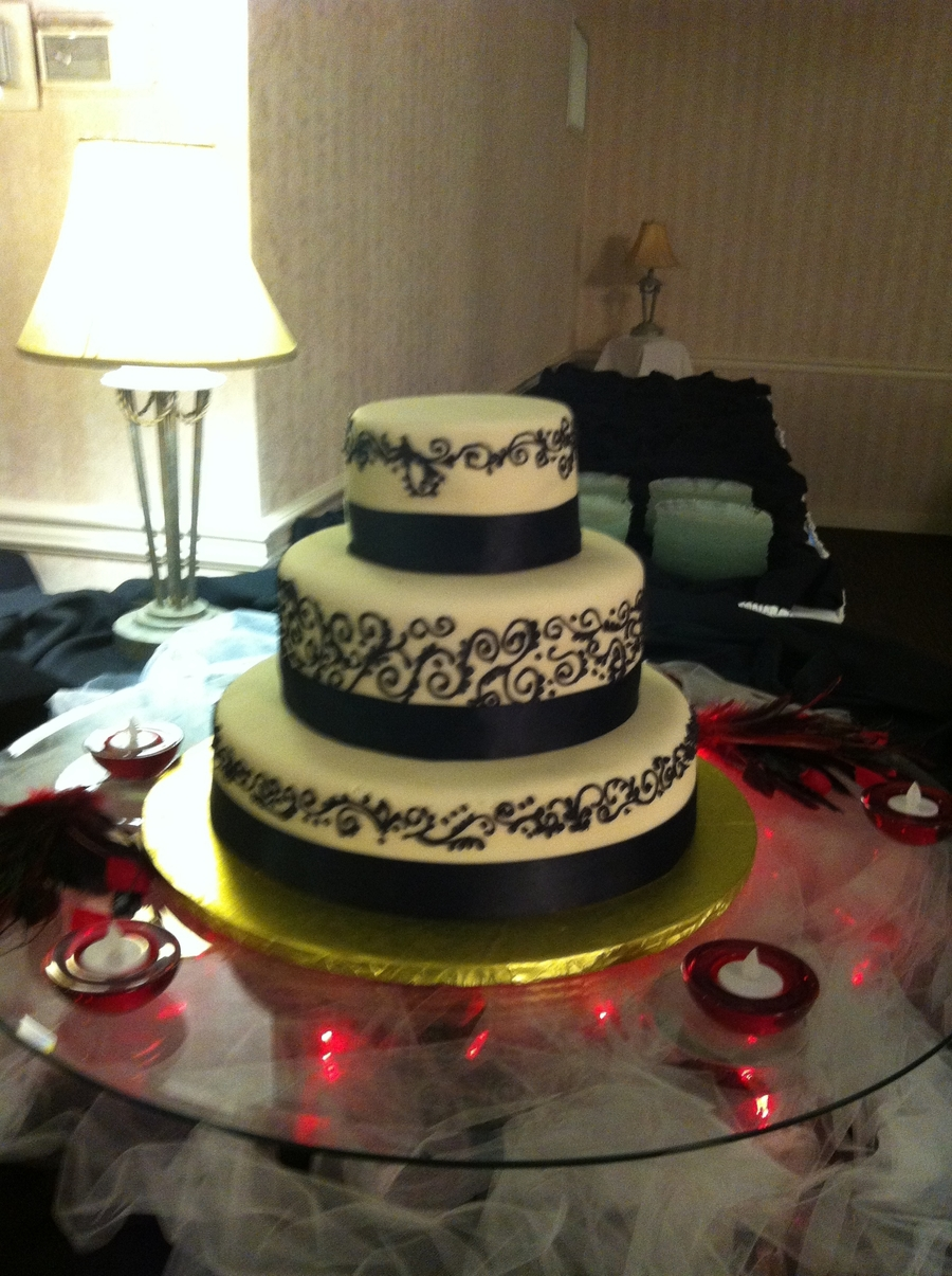 Black And Ivory Wedding Cake on Cake Central