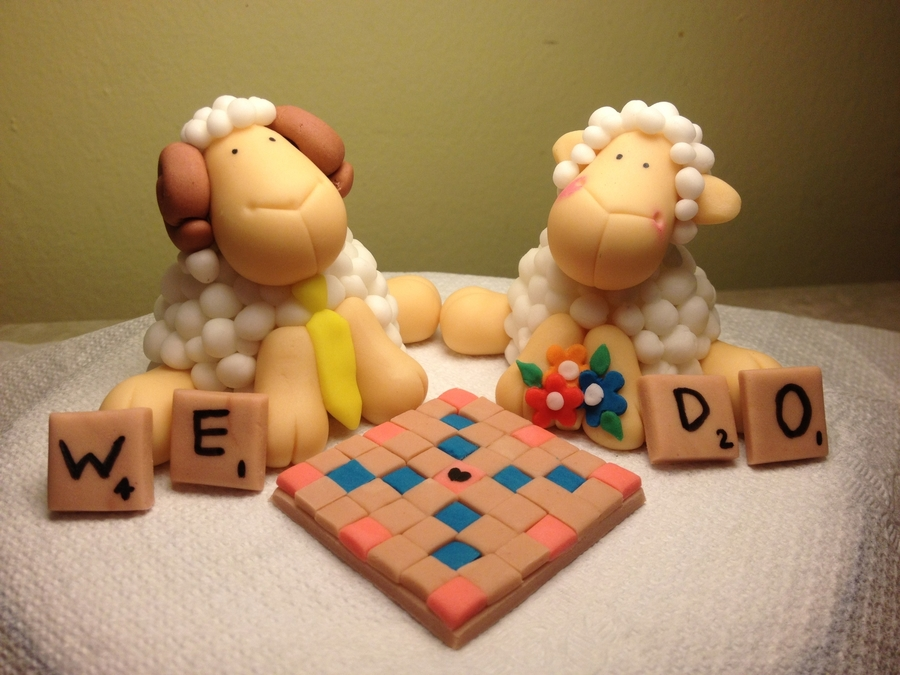 Sheep And Ram Playing Scrabble (Wedding Cake Topper) on Cake Central