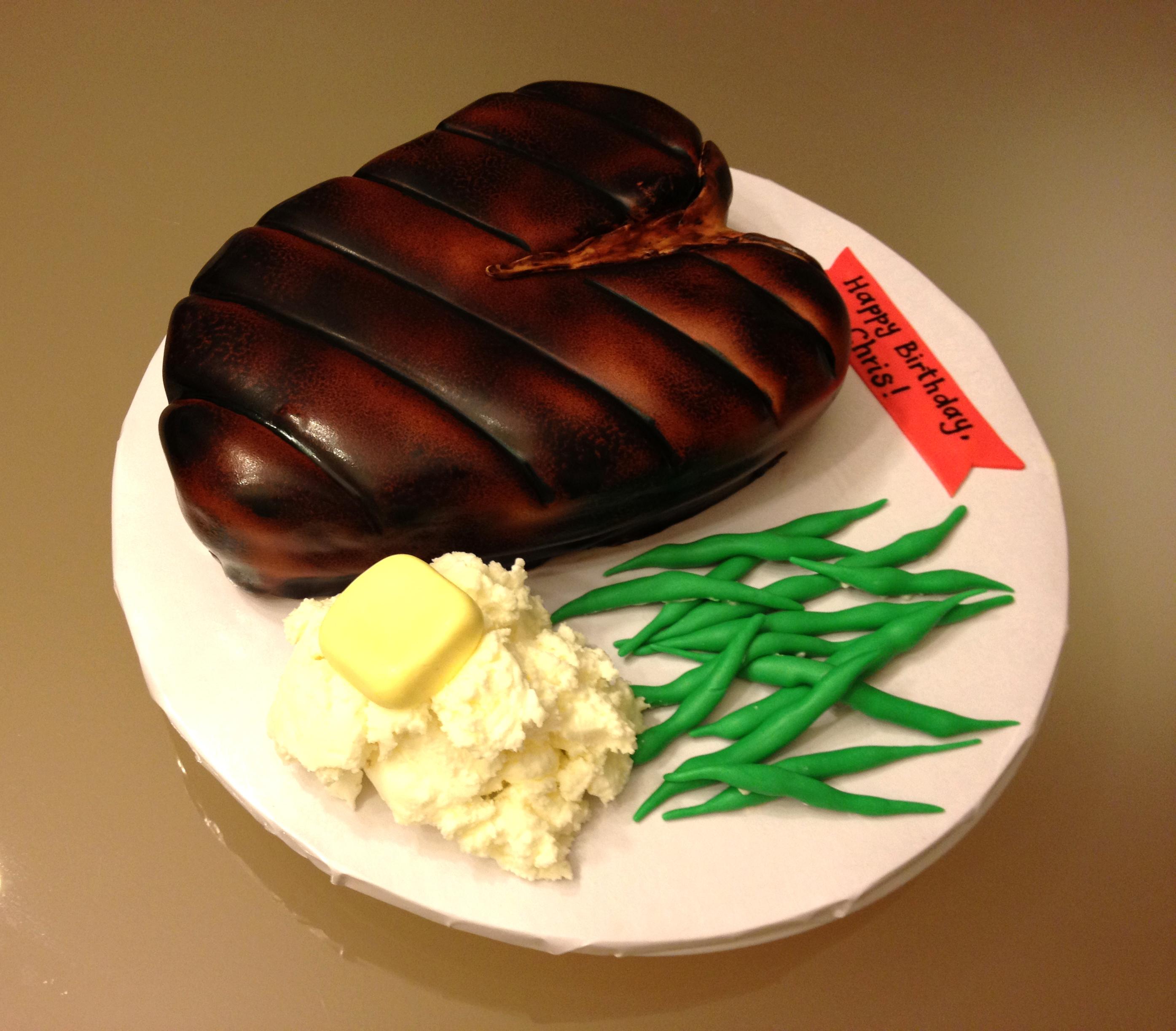 Peachy Steak Birthday Cake Cakecentral Com Funny Birthday Cards Online Inifofree Goldxyz