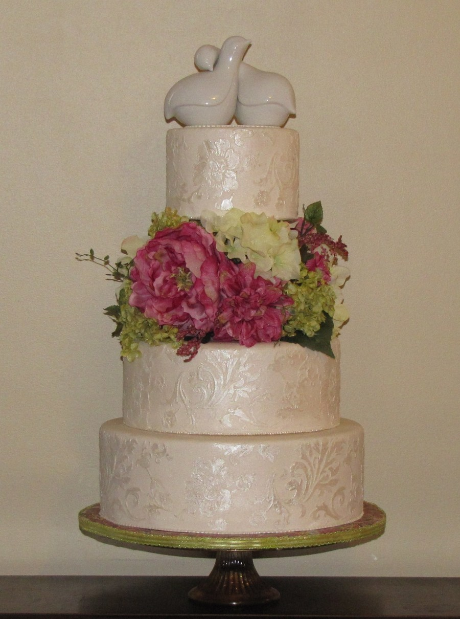 Stenciled Wedding Cake on Cake Central