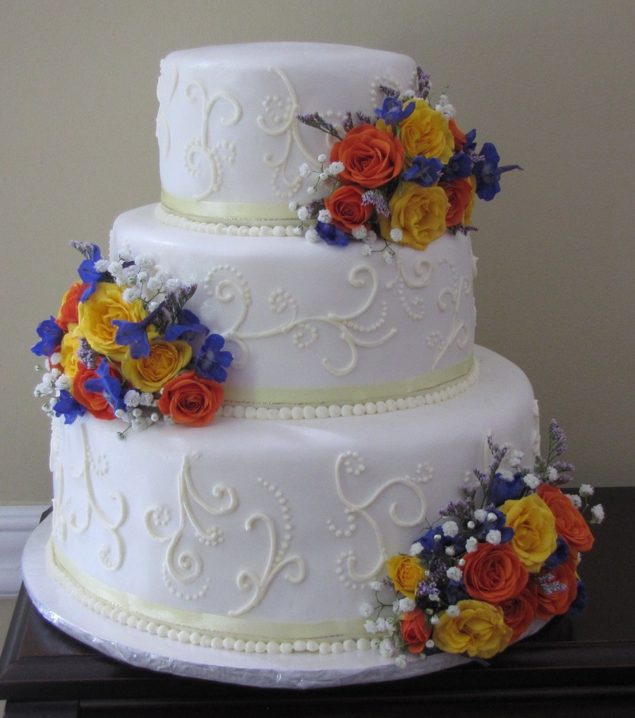 Wedding Cake With Fresh Flower on Cake Central