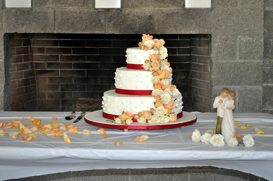 Buttercream Wedding Cake W/ Peach And Ivory Flowers on Cake Central