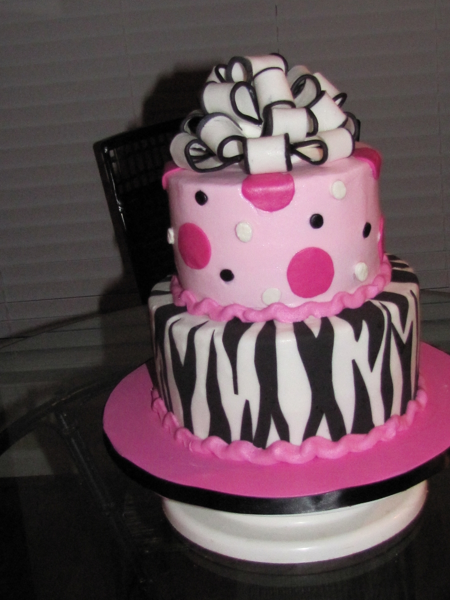Hot Pink And Zebra Stripe on Cake Central