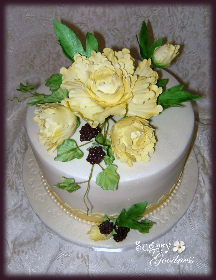 Yellow Peonies And Blackberries on Cake Central