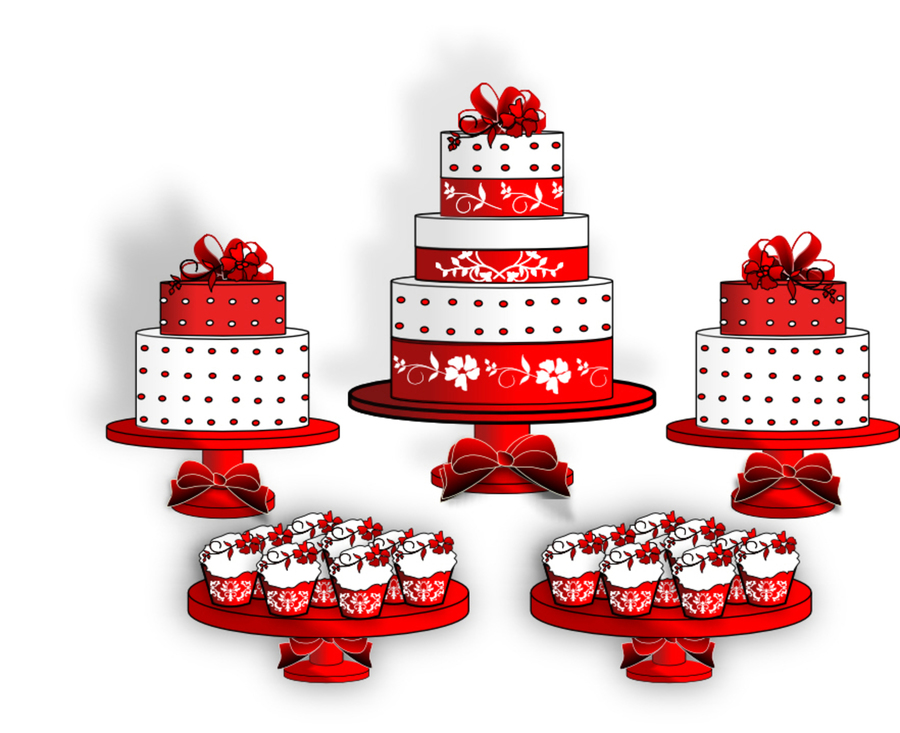 Red And White Cake Table on Cake Central