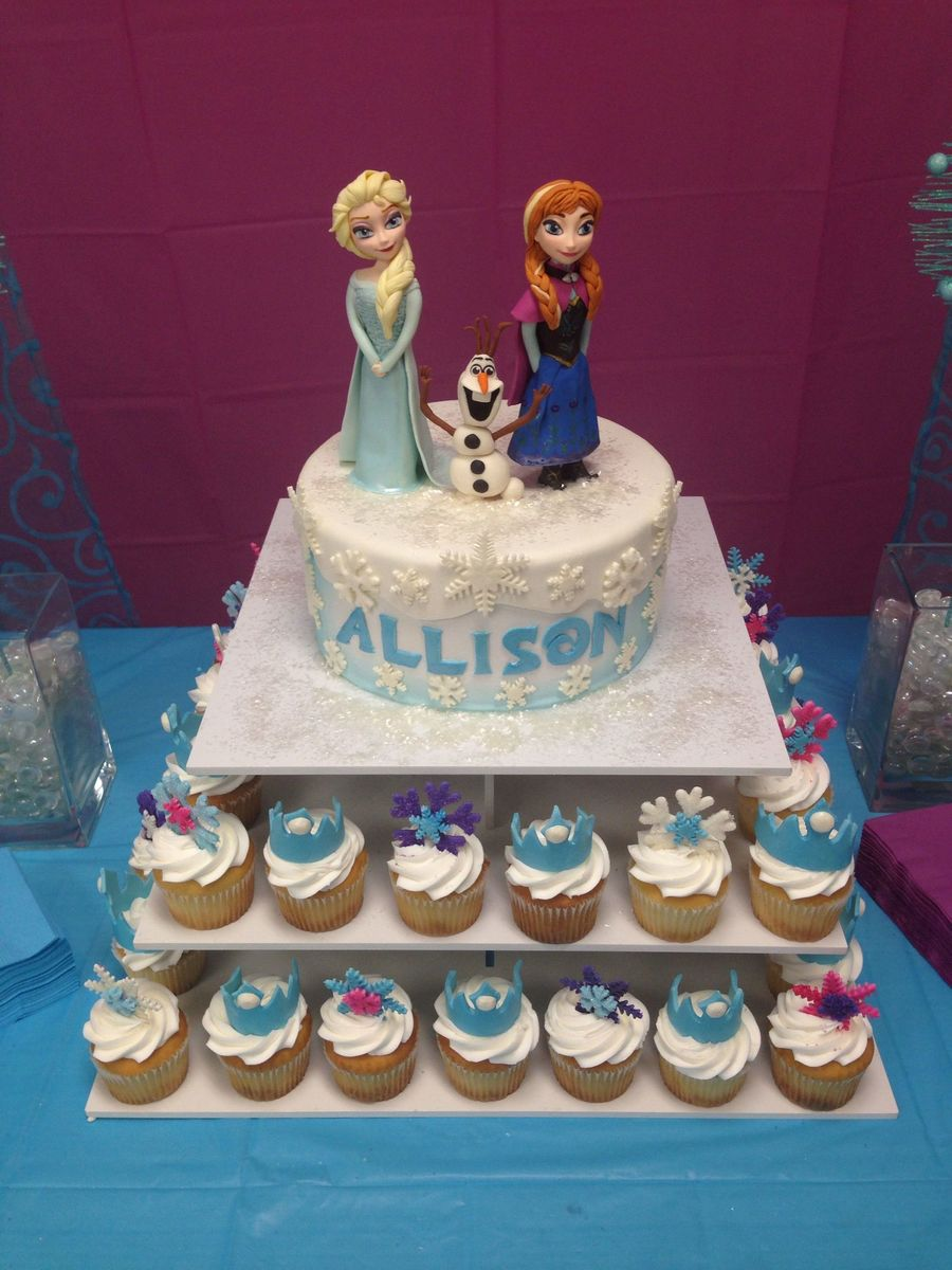 Frozen Themed Birthday Cake With Fondant Characters Everything