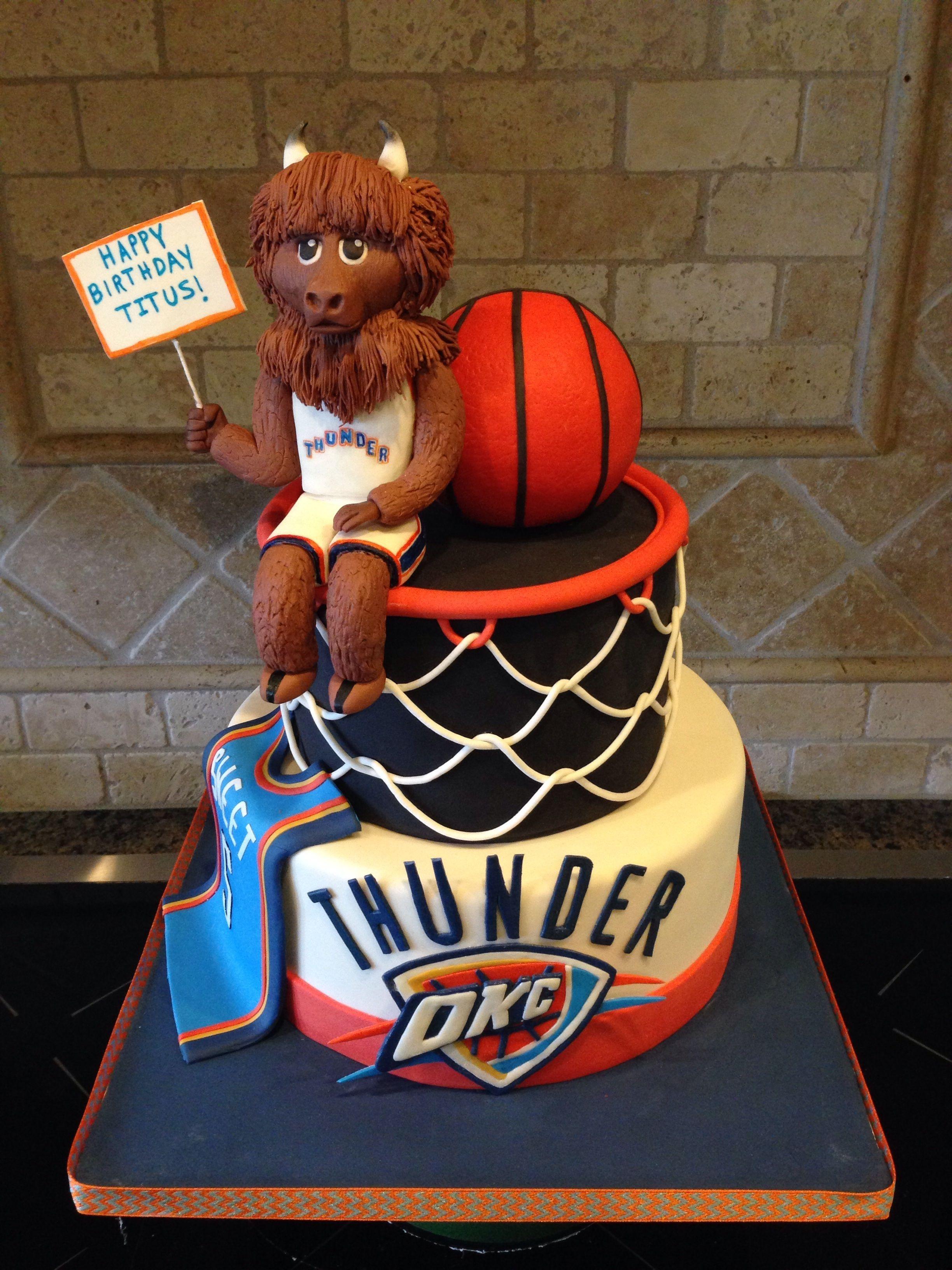 Sensational Thunder Up Okc Thunder Cake For 5 Year Old Boy Ball Is Rkt Covered Birthday Cards Printable Inklcafe Filternl