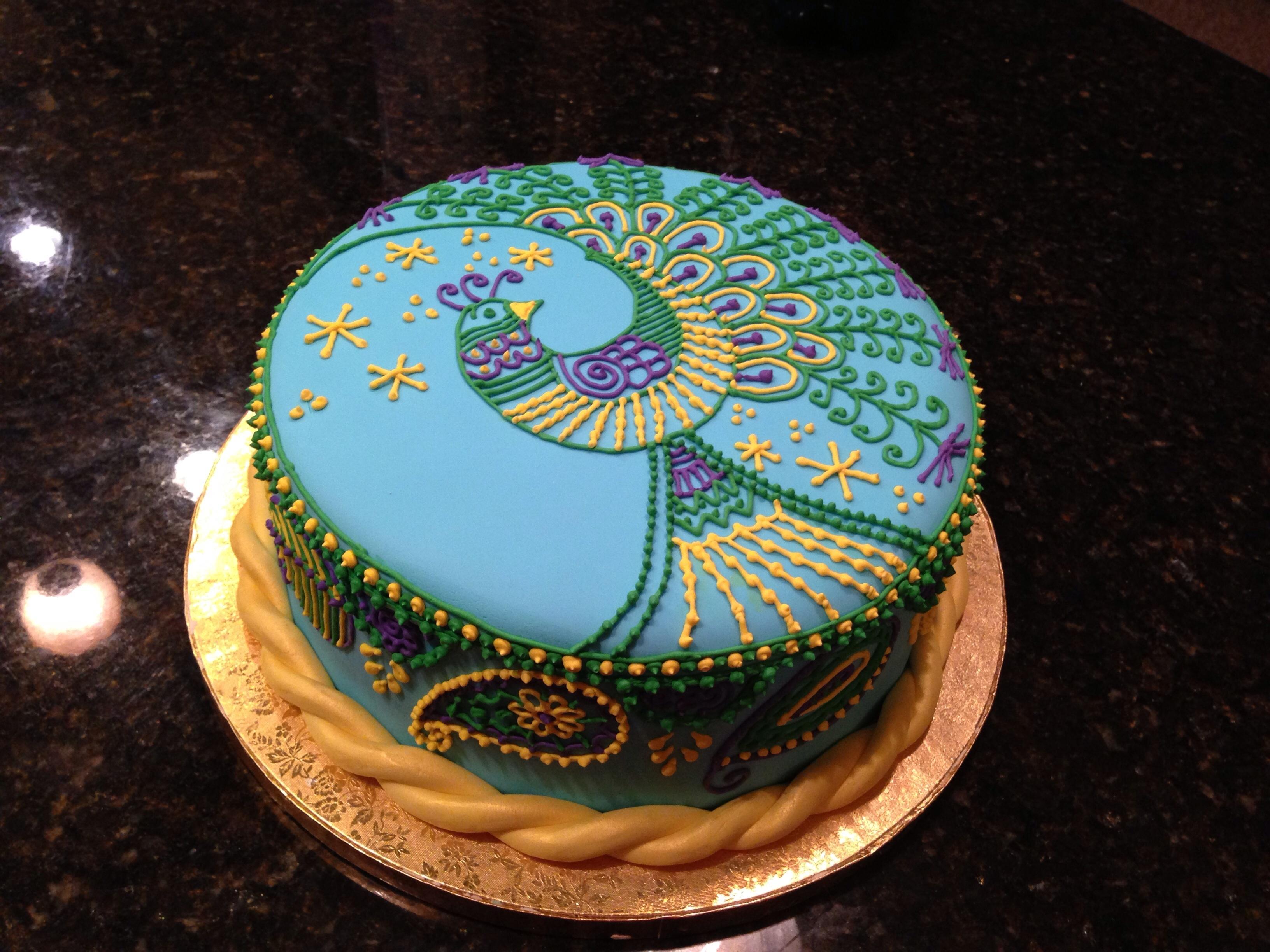 Henna Peacock Cake And Henna Smash Cake For Bollywood