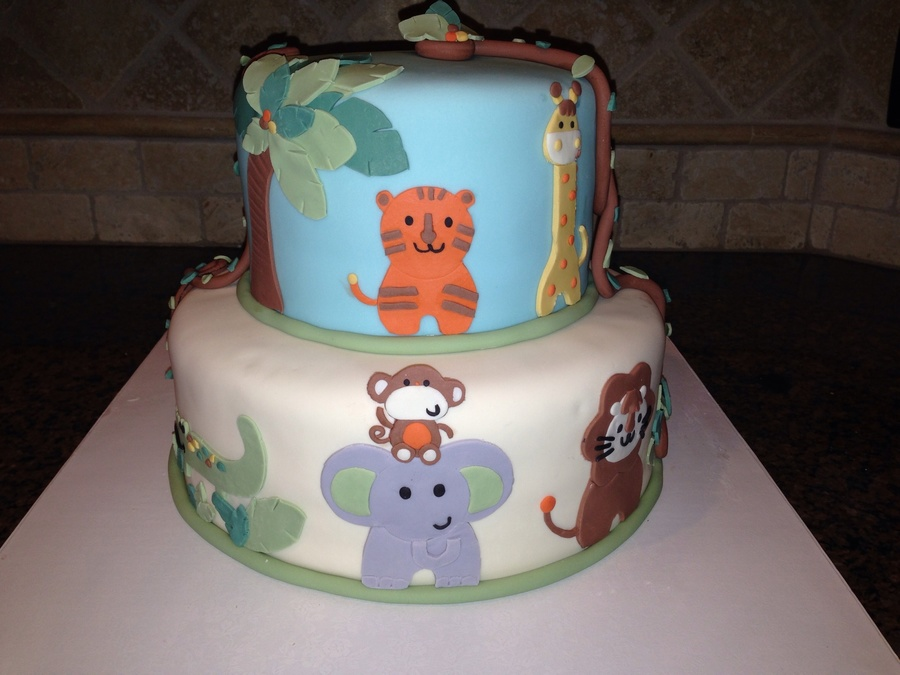 Safari Themed Baby Shower Cake Animals Were Done To Match The Babys Bedding on Cake Central