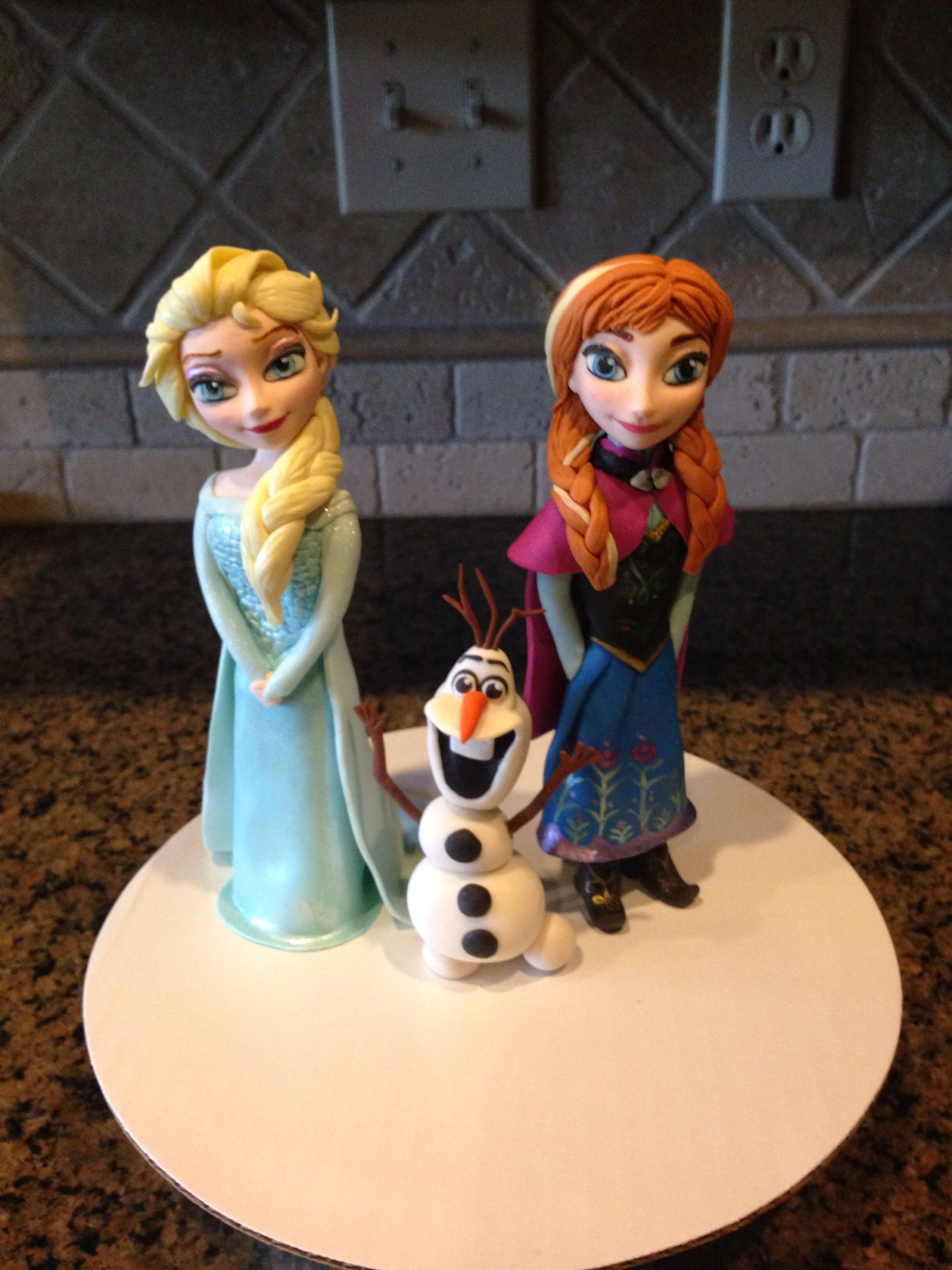 Frozen Themed Birthday Cake With Fondant Characters