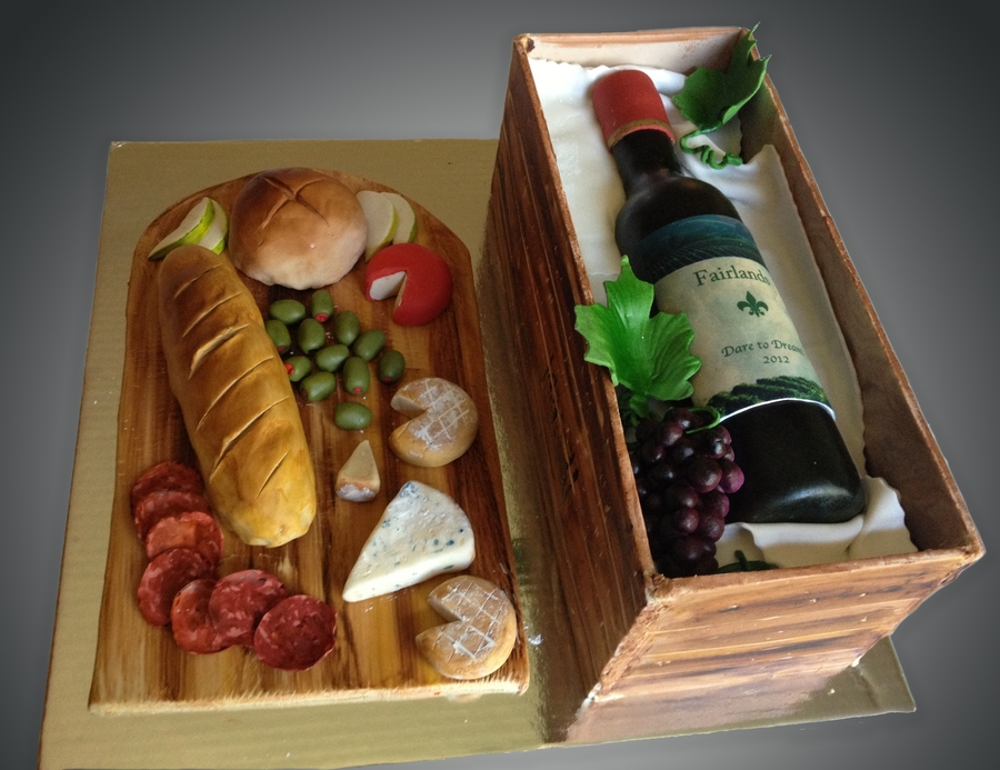 Wine Bottle In A Crate Cake on Cake Central
