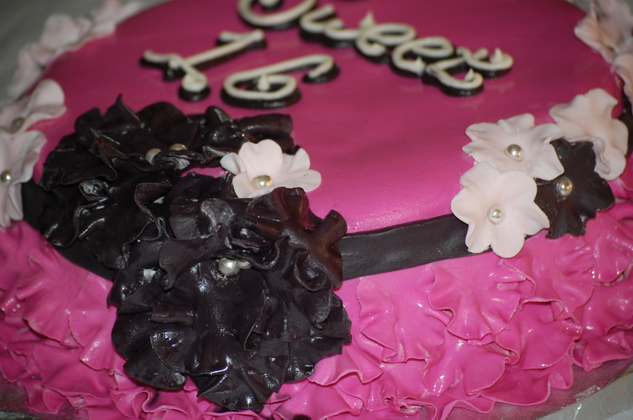 Hot Pink Sweet 16 With Ruffles And Flowers  on Cake Central