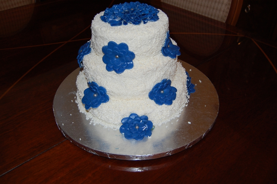 White Jimmies Cake With Royal Blue Flower on Cake Central