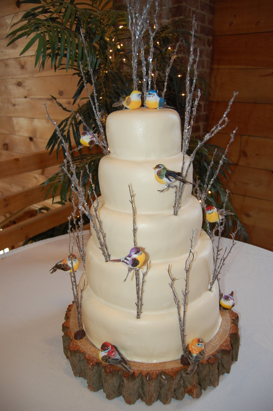 Winter Wedding With Colorful Birds on Cake Central