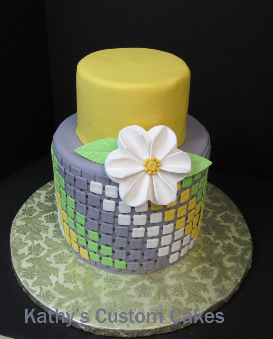 I Saw A Cake Similar To This On Pinterest And Decided To Try It All Fondant With Gumpaste Flower on Cake Central