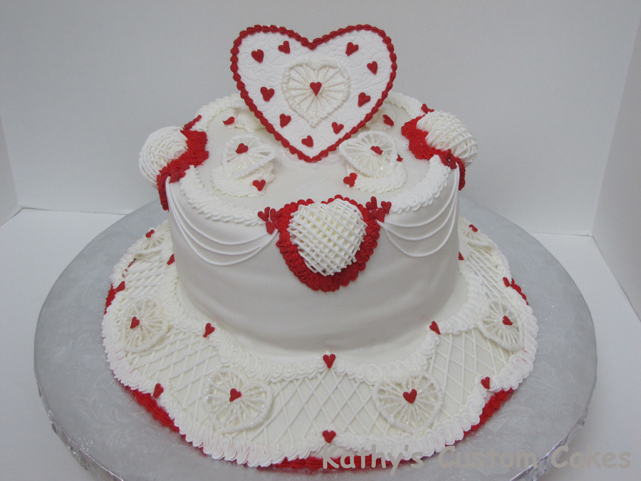 For My Daughters Birthday I Did This One In A Kind Of A Hurry So It Isnt As Neat As Id Like It To Be I Just Love Red And White Though on Cake Central