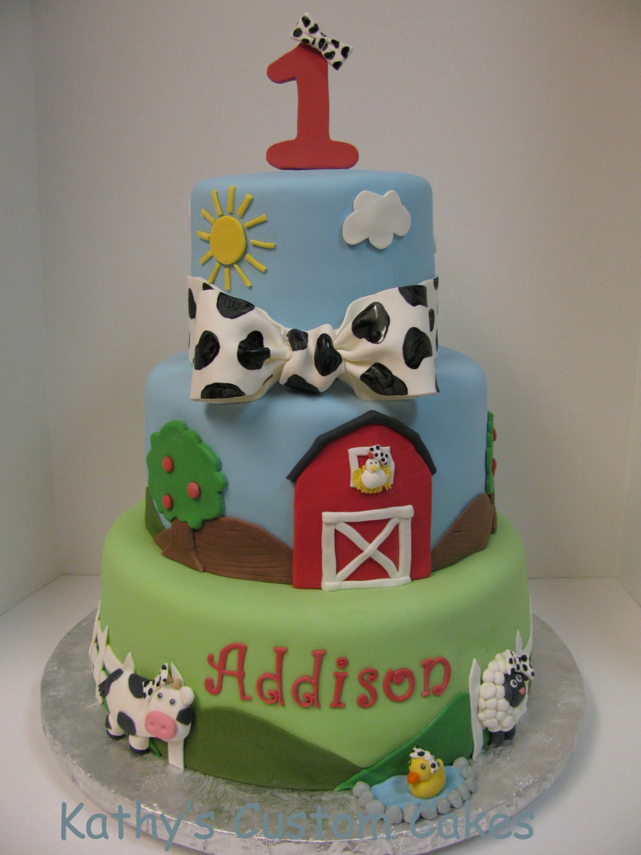First Birthday Cake All The Little Animals Are Wearing Cow