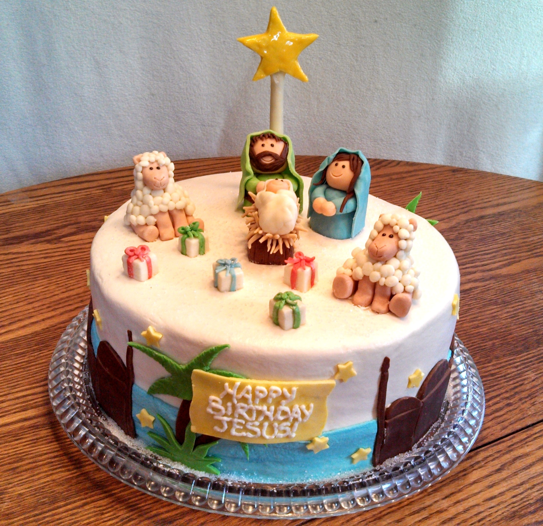 A Birthday Cake For Jesus A In Round  Layer Cake All Buttercream With Candy Clay Nativity And Decorations All Edible Translated From A Two Tier