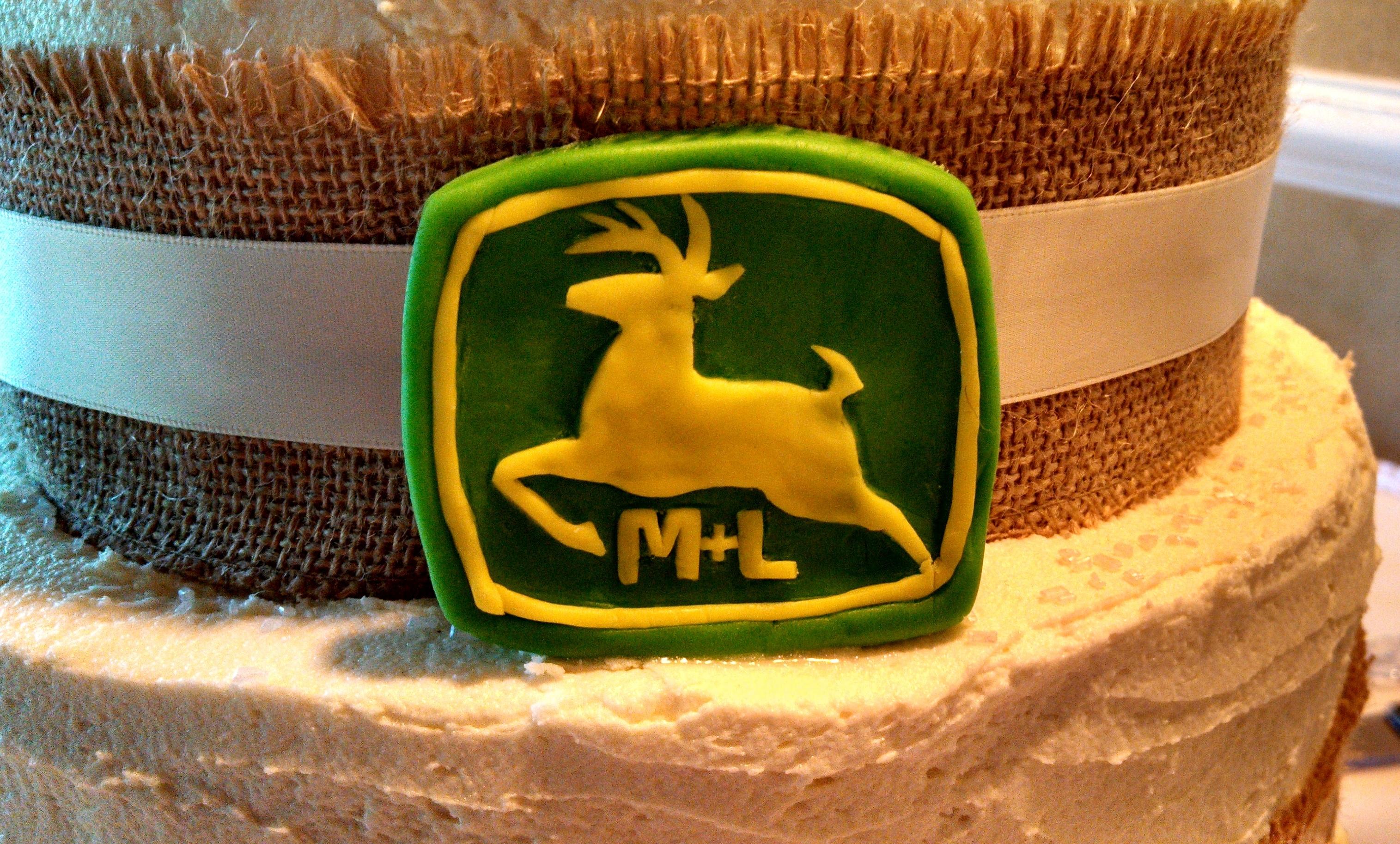 Rustic 4 Tier Wedding Cake And John Deere Groom\'s Cake - CakeCentral.com
